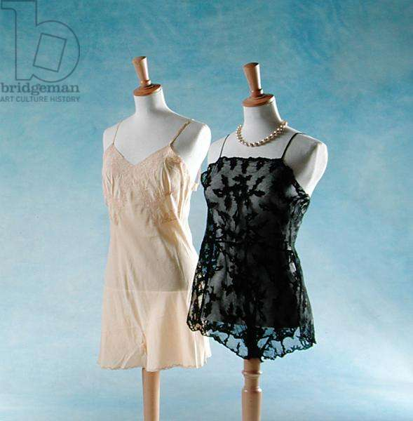 Underwear from the Costume Collection: Chiffon camiknickers, 1930's; and Black lace camiknickers, 1940's (photo)