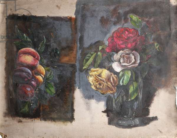 Still Life of Peaches and Plums and Still Life of Roses (oil on canvas)