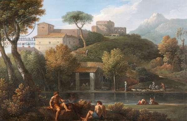 Two Men conversing by a Lake beneath a Castle