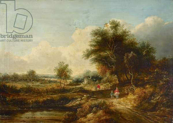 English landscape (reputedly of Richmond) (oil on panel)