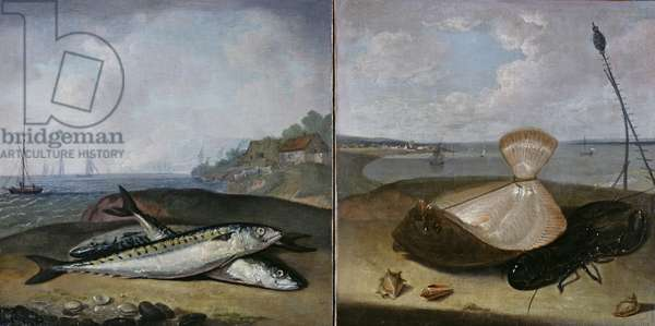 Two fish paintings (oil on canvas) (see also 361537)