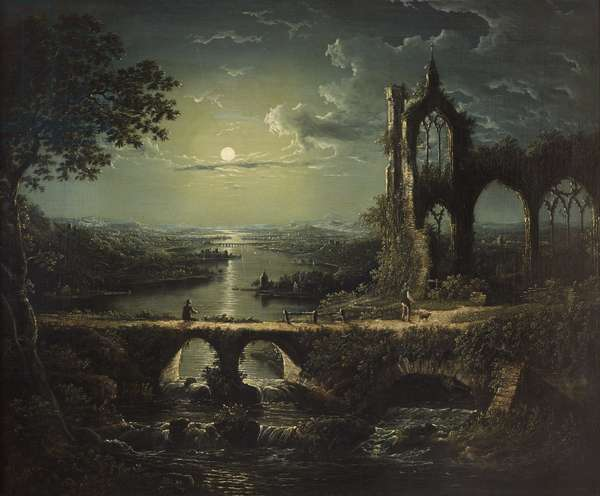 Moonlit River Scene with a Ruined Gothic Church and an Arched Stone Bridge with an Angler