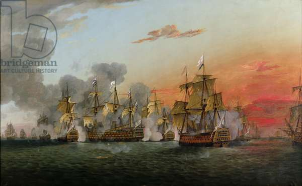 The Battle of the Saintes, 12th April 1782 (oil on canvas)
