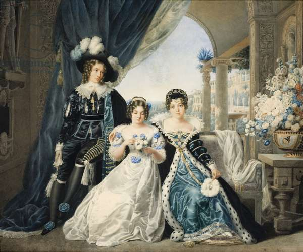 Mary Anne, Lady Acton, with her children in fancy dress (w/c on paper)