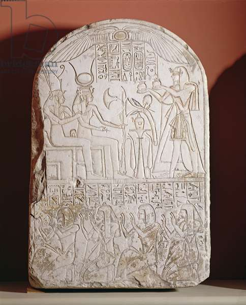 Stele depicting a man giving an offering to Isis and Osiris, found at Deir el-Medina, Egyptian, XIX Dynasty (limestone)