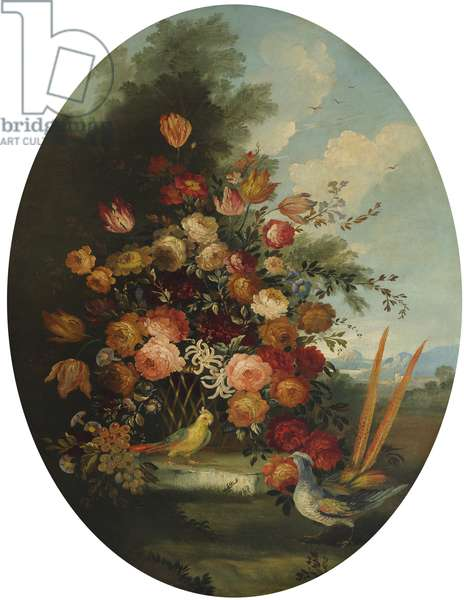 Flowers in a Wicker Basket with a Cockatoo and Pheasant
