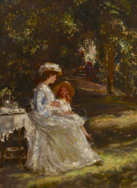 Tea in the Garden or The Tea Table (E.M.Foot, Mrs Leslie Foot with her Children in the Garden of Church House, Pulborough, West Sussex), 1902 (oil on canvas)