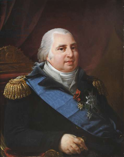 King Louis XVIII, King of France (1755-1824) with the Ribbon of Order of the Saint Esprit