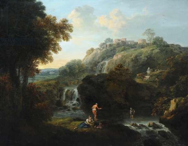 Figure fishing in a Rocky Landscape