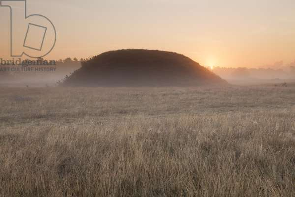 Sunset over the famous burial mounds at Sutton Hoo, Suffolk (photo)