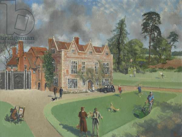 The Gardens of Greys Court with Members of the Brunner Family, 1959 (oil on canvas)