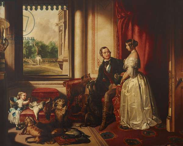 'Windsor Castle in Modern Times': Queen Victoria, Prince Albert with his Favourite Greyhound, Eos, and Terrier, Dandit, and Victoria, the Princess Royal (after Sir Edwin Landseer)
