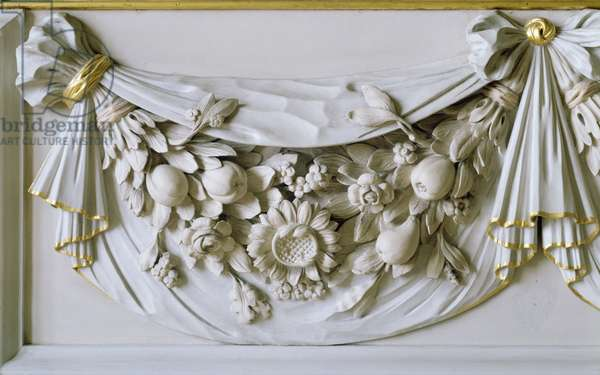 Detail showing an arrangement of fruit, flowers and leaves with hanging cloth, 1678 (carved wood)