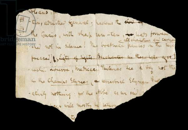 An extract from Thomas Carlyle's manuscript 'The French Revolution' (pen and ink on paper)