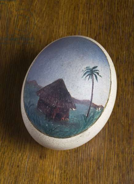 An ostrich egg painted with a tropical scene (eggshell)