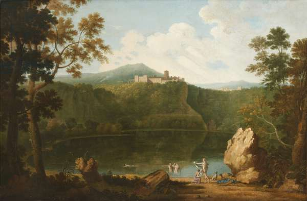 View of Castel Gandolfo with Bathers