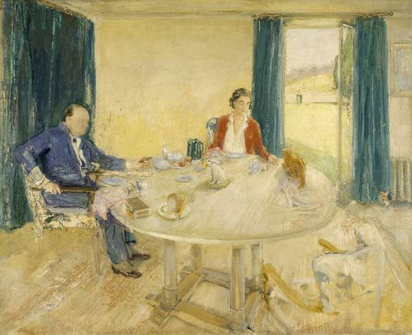 Study for Breakfast at Chartwell II (Sir Winston Churchill and Clementine Ogilvy Hozier, Lady Churchill in the Dining Room at Chartwell with their Cat, Tango), c.1932-33 (oil on canvas)