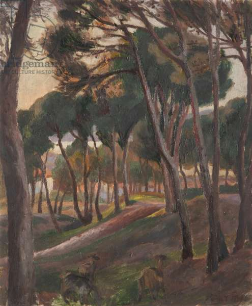 A Wooded Landscape with Goats