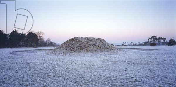 View looking towards a large burial mound at Sutton Hoo, Woodbridge, Suffolk on a frosty morning (photograph)