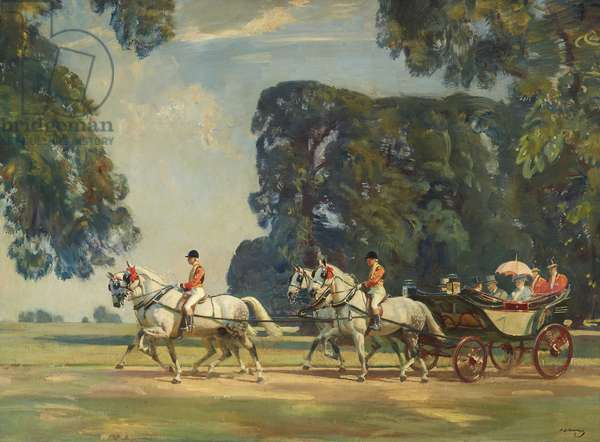 The Royal Carriage entering the Long Walk, Windsor on the Return from the Ascot Races, 1925