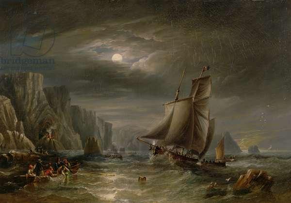 Moonlit Coastal Scene, 1840 (oil on canvas)