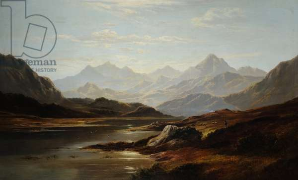Thirlmere looking towards Helvellyn, 1882 (oil on canvas)