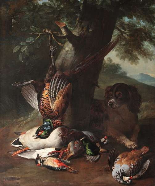 A Spaniel with Dead Game in a Landscape