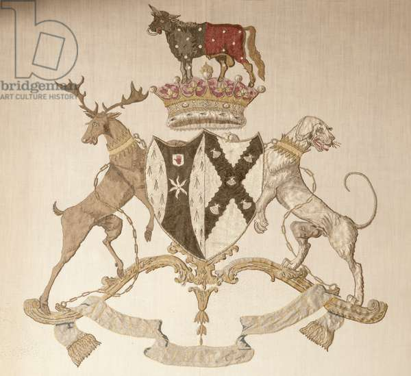 The coat of arms of the 2nd Earl of Buckinghamshire and his wife Caroline Conolly, from the headboard in the Chinese Room (photo)