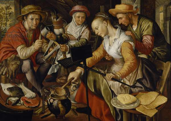 Dutch Kitchen Scene (oil on canvas)