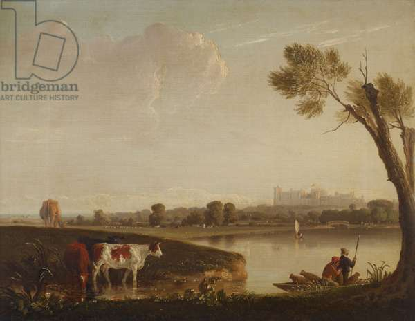 View of Windsor Castle from the River with Cattle, and Two Men in a Boat