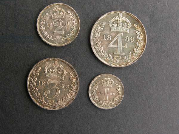 Set of Maundy coins, 1889 (silver)