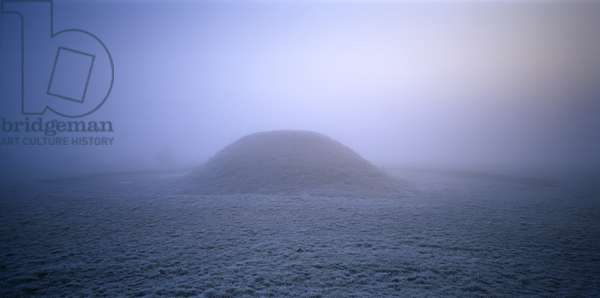 View looking towards a large burial mound at Sutton Hoo, Woodbridge, Suffolk on a frosty, foggy morning (photograph)