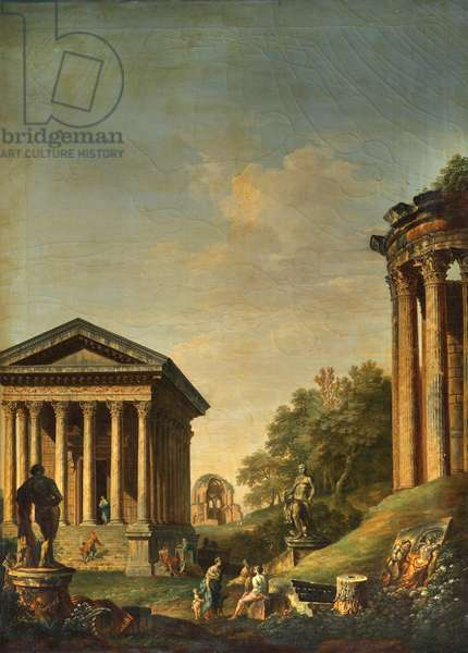Architectural Capriccio with the Maison Carré and the Temples of Vesta and Minerva Medica (oil on canvas)