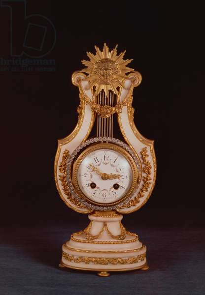 Lyre clock, c.1810 (marble and ormolu with paste jewels)