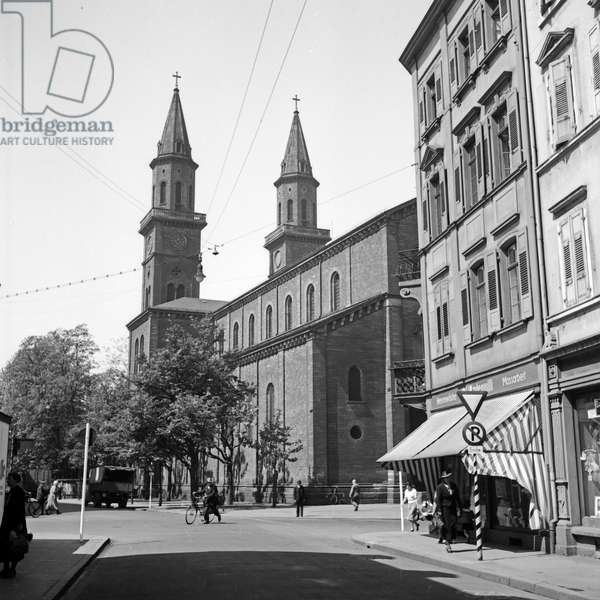 The St Ludwig church is the oldest Roman Catholic church of Ludwigshafen, Germany 1930s (b/w photo)