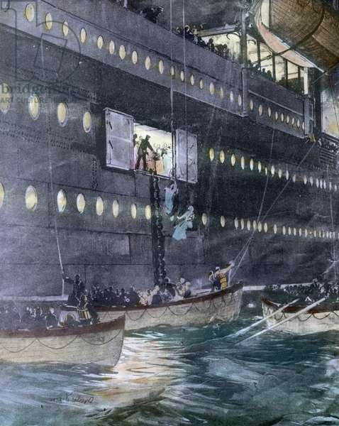The maiden voyage of the Titanic 1912, Titanic disaster - The sinking of the Titanic - Lifeboats with passengers - Carl Simon, hand coloured glass slide - illustration - history, historica
