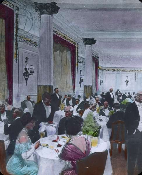 The maiden voyage of the Titanic 1912 - dining hall - hand coloured glass slide - illustration - history, historical,