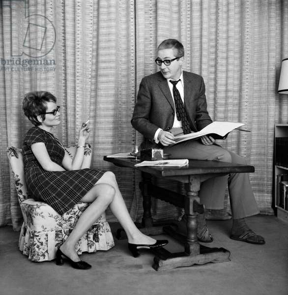 Werner Bruhns and his wife Wibke sitting in their living-room, end 1960s