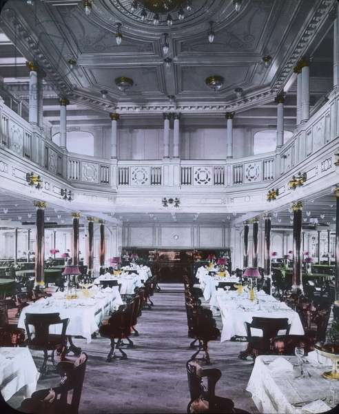 The maiden voyage of the Titanic - on board of the Titanic liner - luxury dining hall. 10. April 1912. Carl Simon Archive