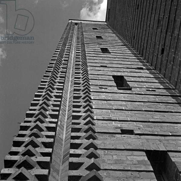 Bricks at one tower at the inner courtyard at the Tannenberg monument near Hohenstein in East Prussia, Germany 1930s (b/w photo)