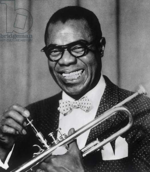 Louis Armstrong (Born on 4. August 1901 - Died on 6 July 1971) was the most famous jazz trumpeter of the 20th century. Annees 1950.