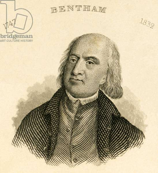 Jeremy Bentham (1748-1832), English philosopher and jurist, steel engraving by Carl Mayer - Nuernberg, published by C. A. Hartleben , about 1850