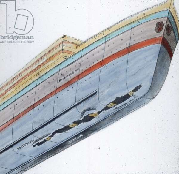 The maiden voyage of the Titanic 1912 - Titanic disaster - illustration of Titanic crack, history, historical, Carl Simon, hand coloured glass slide