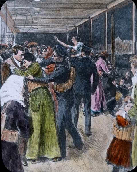 The maiden Voyage of the Titanic 1912, Titanic disaster-, passengers on board after collision, illustration - Carl Simon, hand coloured glass slide
