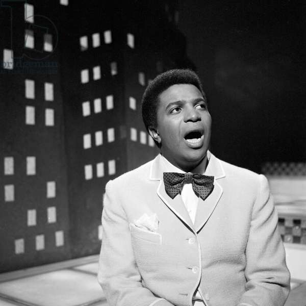 Tunisian born German entertainer, singer and actor Roberto Blanco in a German music TV show, beginning 1960s