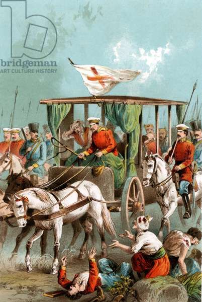 Red Cross: Military ambulance carrying a Red Cross flag transporting Russian wounded during Russo-Turkish War, 1877. From a contemporary chromolithograph.