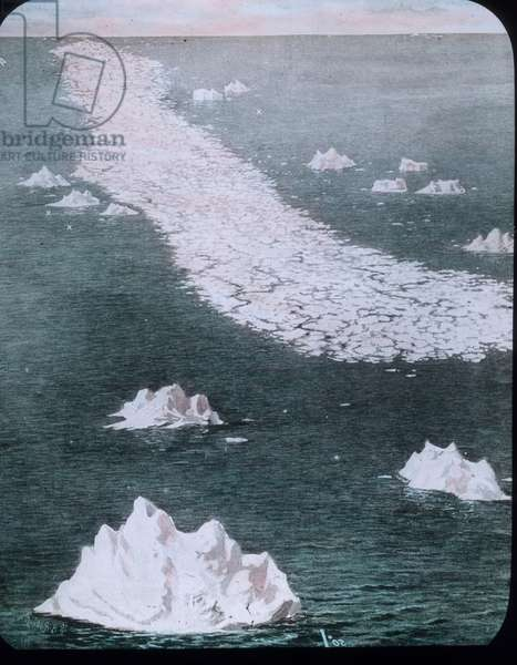 The maiden voyage of the Titanic 1912, Titanic disaster, Ice field, North Atlantic, Carl Simon, hand coloured glass slide, history, historical