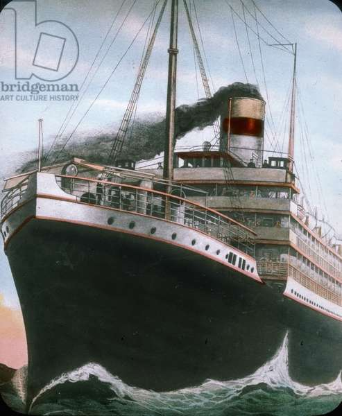 The maiden voyage of the Titanic 1912, Titanic disaster - The Carpathia liner near to the sinking Titanic - Carl Simon, hand coloured glass slide