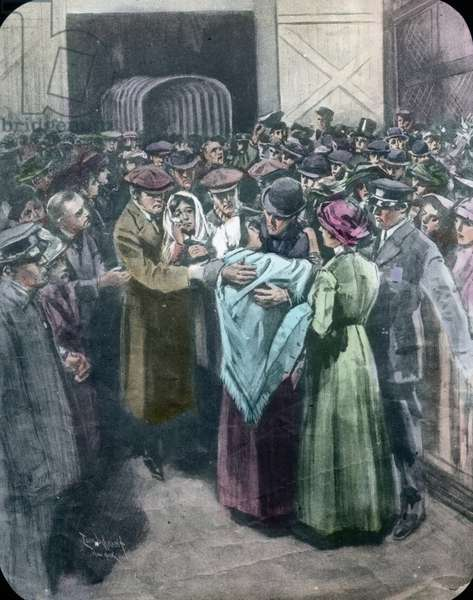 The maiden voyage of the Titanic 1912, Titanic disaster, survivors, arrival in New York, history, historical, illustration, Carl Simon, hand coloured glass slide
