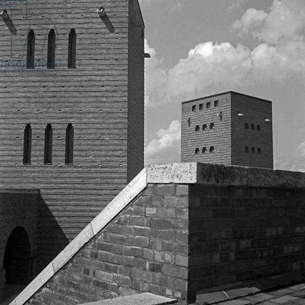 Towers and stairs at the inner courtyard at the Tannenberg monument near Hohenstein in East Prussia, Germany 1930s (b/w photo)